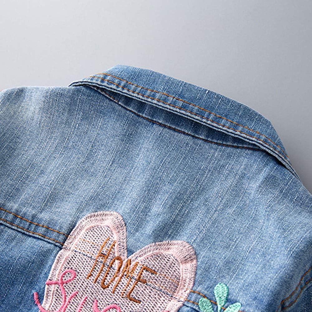 Herz LPATTERN Baby//Kleinkinder M/ädchen Prinzessin Jeansjacke Denim Jacke /Übergangsjacke Fashion Outwear mit Stickerei Buchstabe