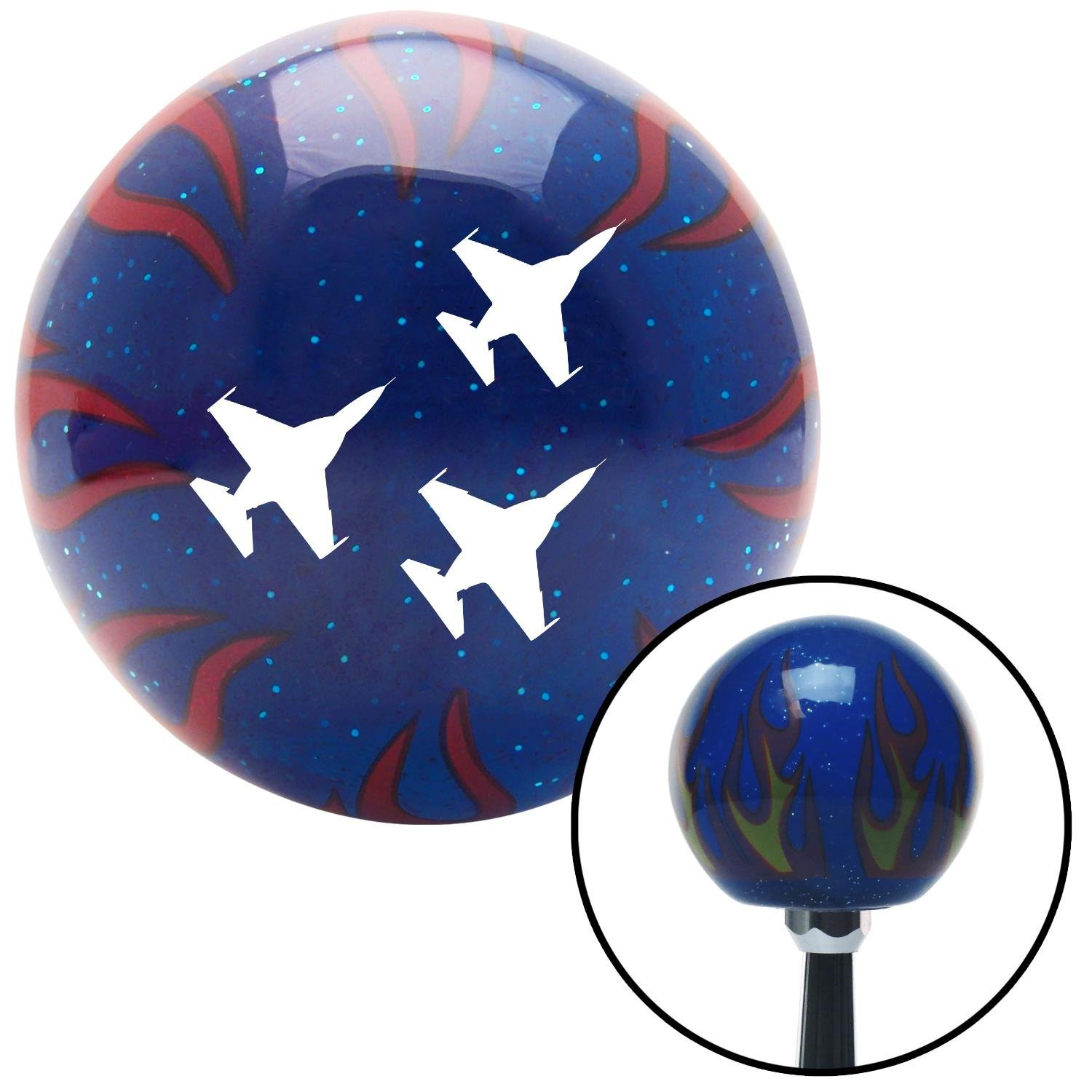 White Jets American Shifter 250102 Blue Flame Metal Flake Shift Knob with M16 x 1.5 Insert
