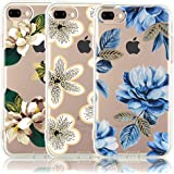 iPhone 8 Plus Case, iPhone 7 Plus Case, [3-Pack] CarterLily Watercolor Flowers Floral Pattern Soft Clear Flexible TPU Back Case for iPhone 7 Plus  iPhone 8 5.5'' - Blue Flowers