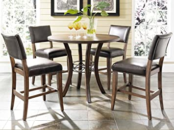 Amazon.com   Hillsdale Furniture 5 Piece Counter Height Round Wood Dining  Set With Parson Stool   Table U0026 Chair Sets
