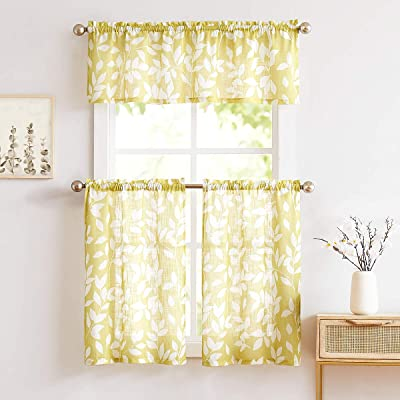 Buy Treatmentex Valance Curtain For Window 15 Leaf Print Kitchen Valances Mustard Yellow And White 52 W 1 Panel Online In Kenya B07wg5xhsd