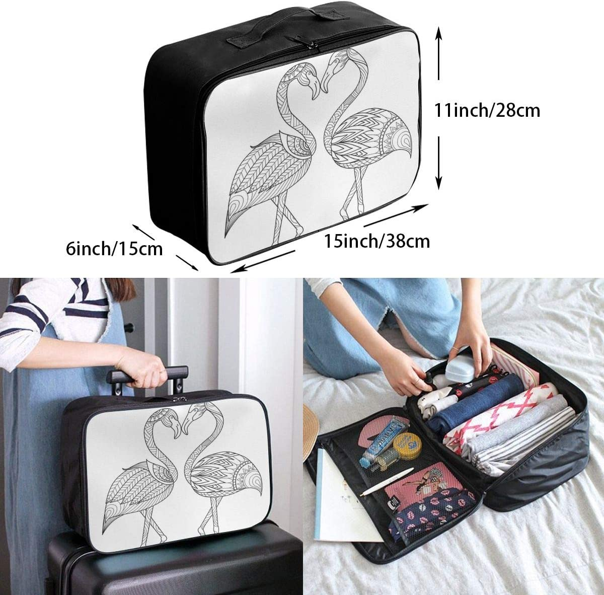 Yunshm Flamingo Coloring Vector Image Customized Trolley Handbag Waterproof Unisex Large Capacity For Business Travel Storage