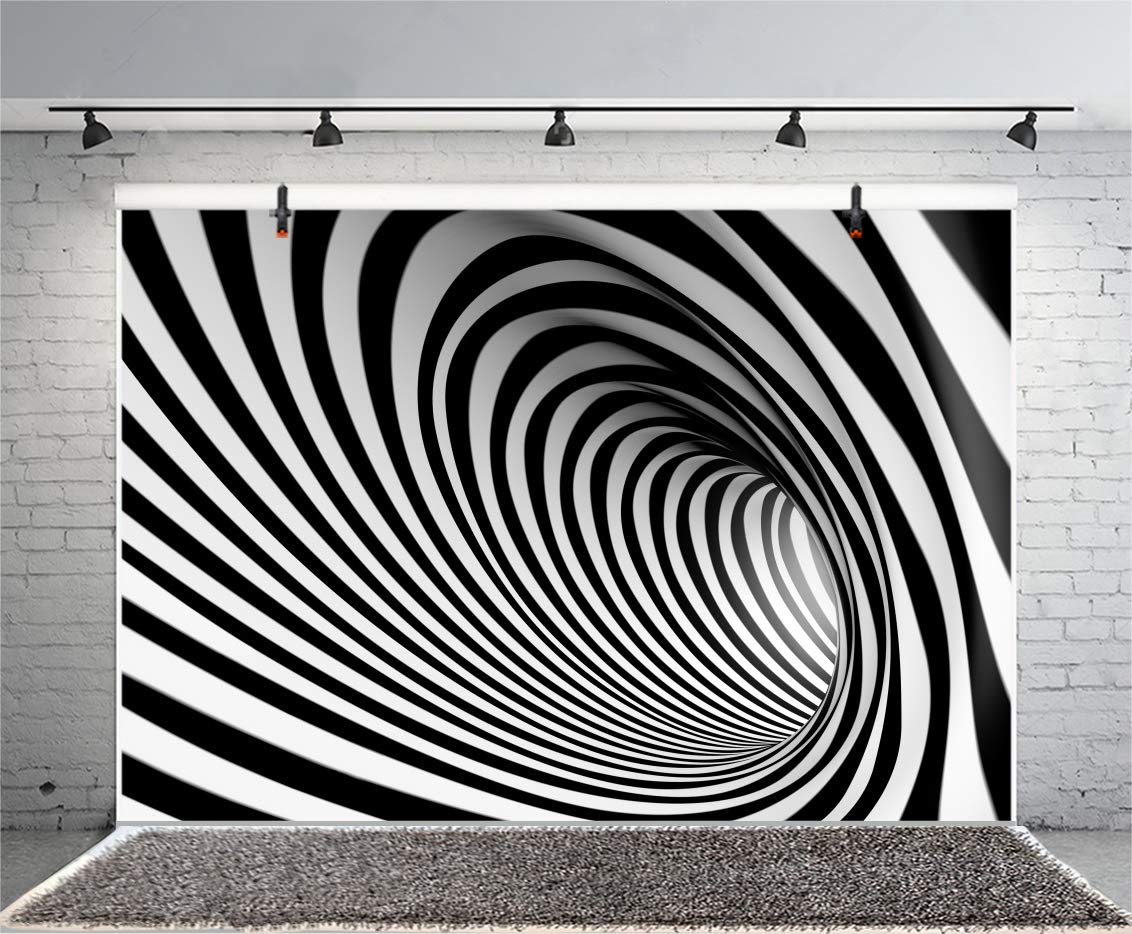Leyiyi 7x5ft Photography Backgroud 3D Vortex Backdrop Abstract Mysterious Tunnel Vortex Ciycles Black White Stripes Whirlingig Concert Vlogger Space Summer Party Photo Portrait Vinyl Studio Prop