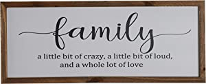 """Inspirational Rustic Wood Frame Wall Decor Family Sign,Home Decor Clearance,Farmhouse Decor,Waterproof,Inspring Quotes Plaque""""Family a Little Bit of Crazy,a Little Bit of Loud,and a Whole Lot of Love"""""""