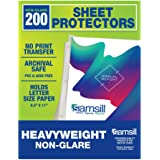 Samsill 200 Non-Glare Heavyweight Sheet Protectors, Reinforced 3 Hole Design Plastic Page Protectors, Archival Safe, Top Load