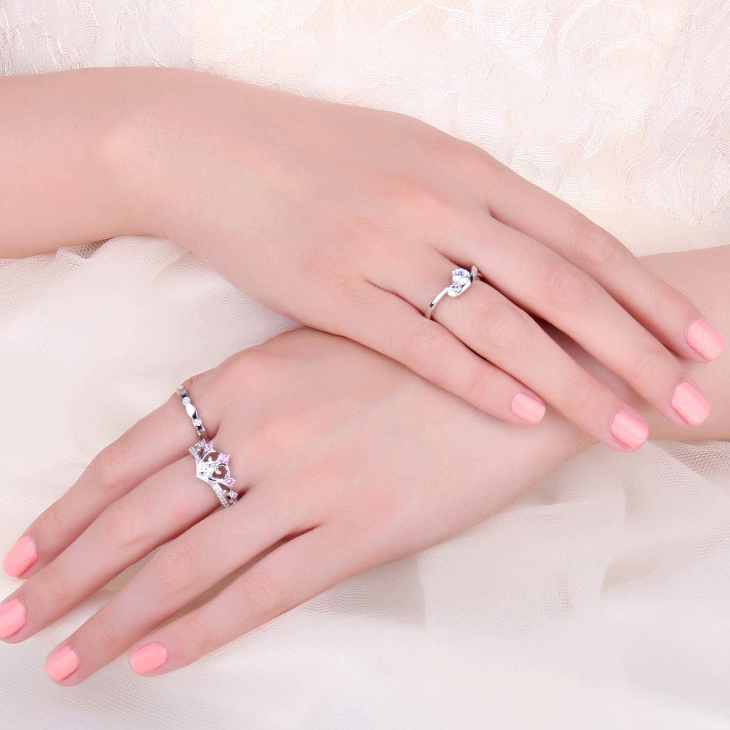 JewelryPalaceInfinity Heart Princess Crown Channel Cubic Zirconia Created Pink Sapphire Anniversary Promise Wedding Engagement Ring 925 Sterling Silver