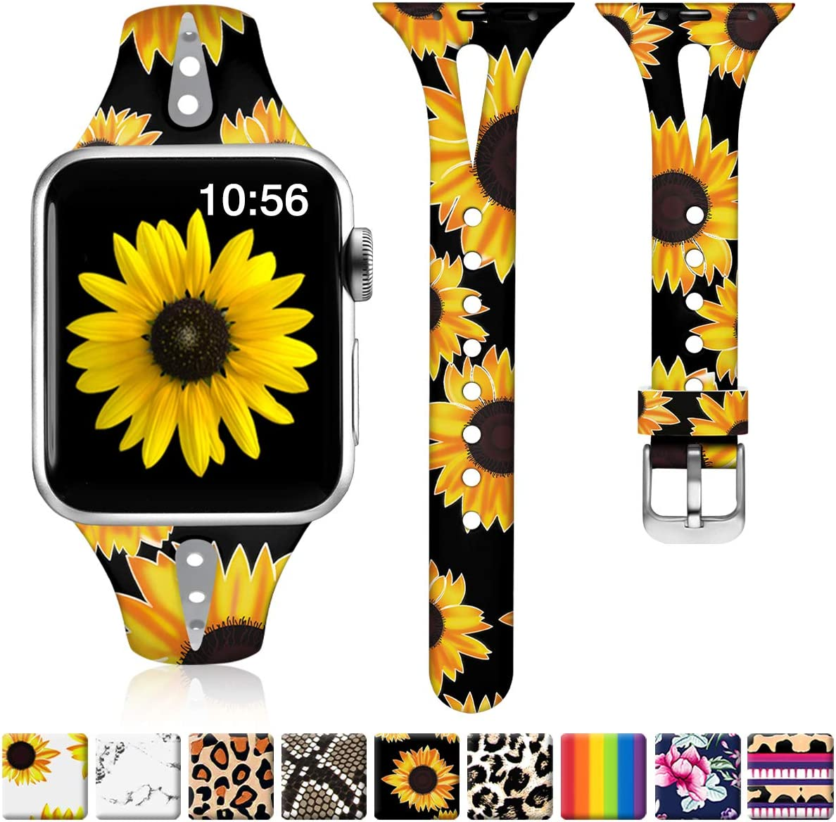 ZAROTO Sunflower Bands Compatible for Apple Watch Series 6 Series 5/4 44mm Women, 42mm iwatch bands for Apple Watch SE, Series 3 2 1, Cute Slim Soft Silicone Narrow Print Wristband S/M Black Sunflower
