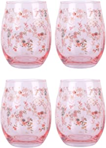 Home Essentials Set of 4 Flower Stemless Wine Glass 20 Ounce, Pink