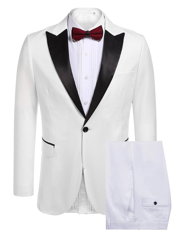 COOFANDY Mens Slim Fit 2 Piece Dress Suit One Button Tuxedo Blazer Jacket & Pants Set for Wedding Party Prom