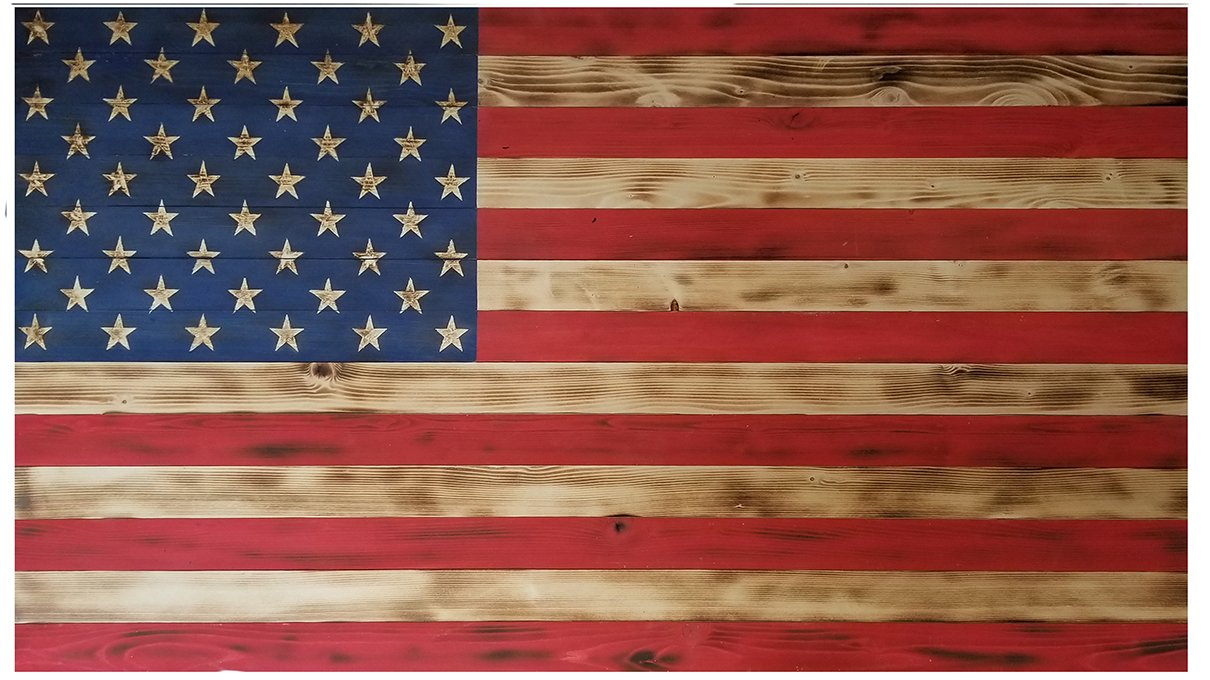 Sawdust Addicts Rustic Handmade American Flag,  13'' L x 24'' H, Red/White/Blue