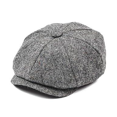 338c13c1 JANGOUL Mens 100% Wool Newsboy Cap Grey Series 8 Panel Tweed Cabbie Hat (S