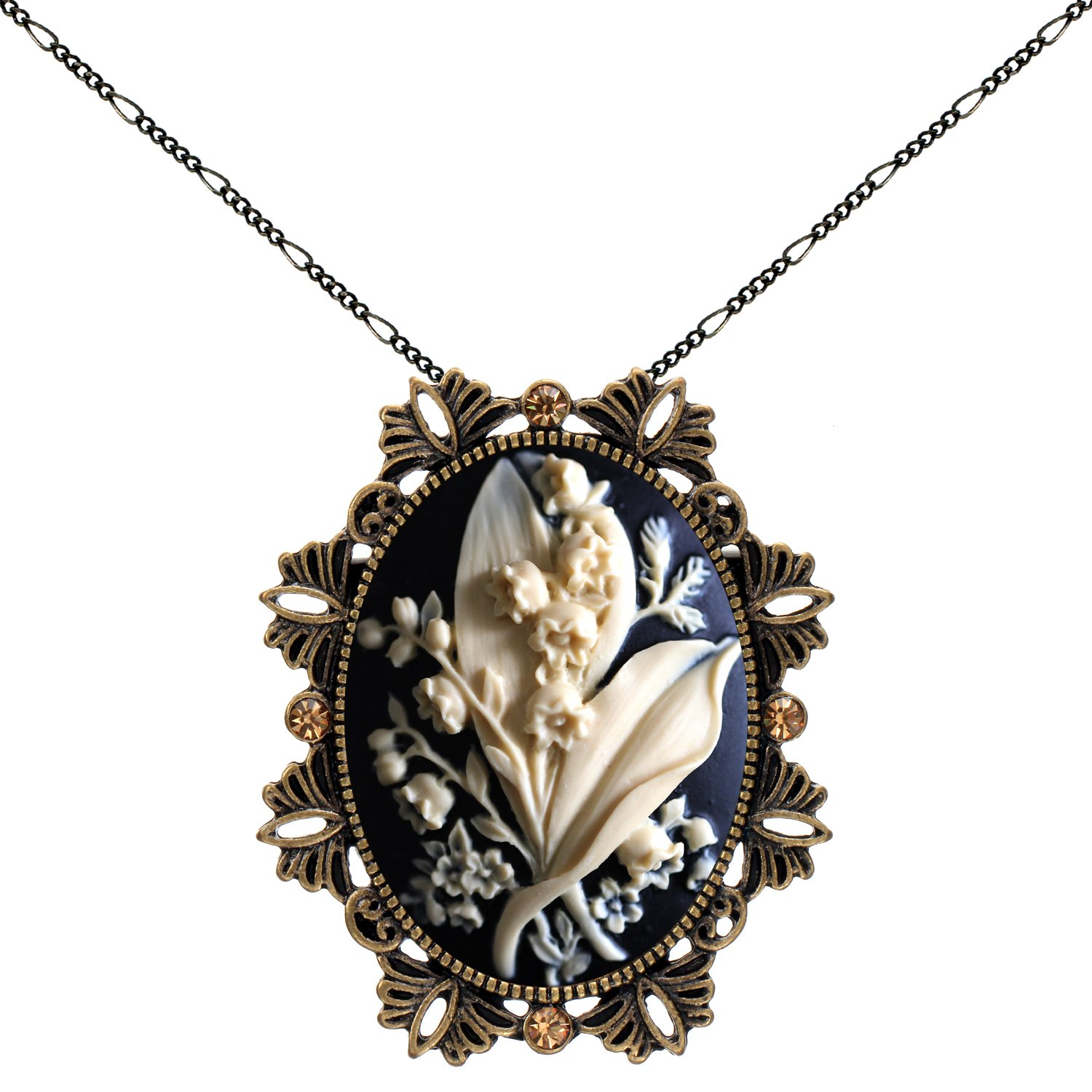 Bridal Bouquet Brooch Necklace Two Way Functional Antique Brass Pendant 18'' 24'' Chain Pouch for Gift
