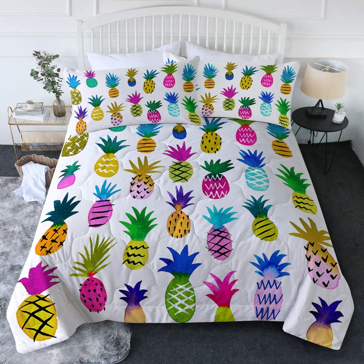 BlessLiving 3 Piece Rainbow Pineapple Comforter Set with Pillow Shams – Hawaiian Fruits Bedding Set with 3D Printed Designs Reversible Comforter Full/Queen Size – Soft Comfortable Machine Washable