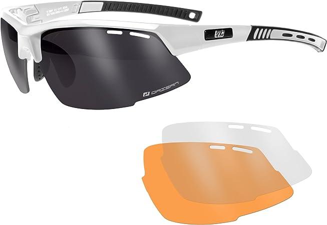 Radbrille Fahrradbrille Sportbrille mit Wechselscheiben klar gelb grau Etui