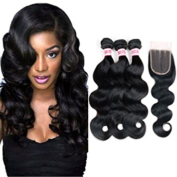 Amazon fabeauty body wave peruvian human hair 3 bundles with fabeauty body wave peruvian human hair 3 bundles with closure 100 7a unprocessed virgin peruvian pmusecretfo Images