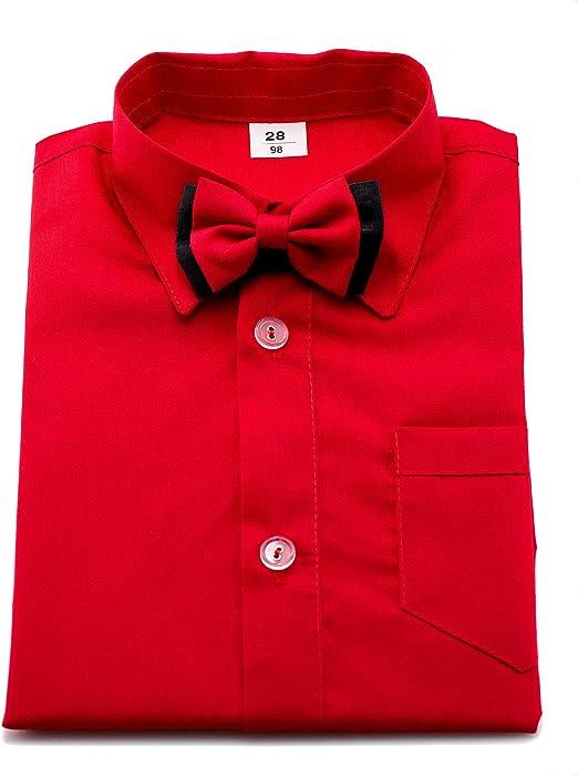 Boy s formales Hemd Rot mit Fliege und langen Ärmeln
