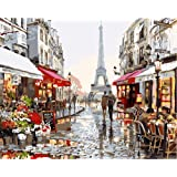 New arrival DIY Oil Painting by Numbers Kit Theme PBN Kit for Adults Girls Kids White Christmas Decor Decorations Gifts - Eiffel Tower Street View (Without Frame)