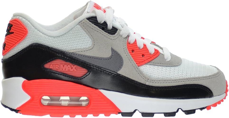 GS Big Kids Shoes White//Cool Grey-Natural Grey-Black 724882-100 Nike Air Max 90 Premium Mesh