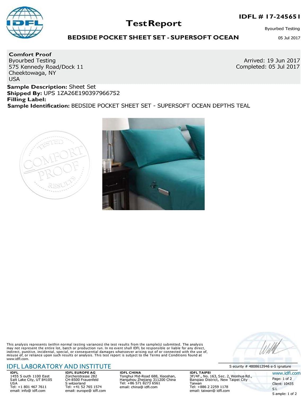 Amazon.com: BYB Bedside Pocket Queen Sheet Set - Supersoft Ocean Depths  Teal: Home & Kitchen