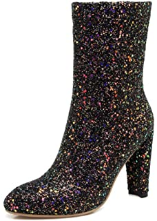Women's Glitter Sequined Round Toe Inside Zip Up Dressy Chunky High Heel Mid Calf Boots Shoes With Zipper