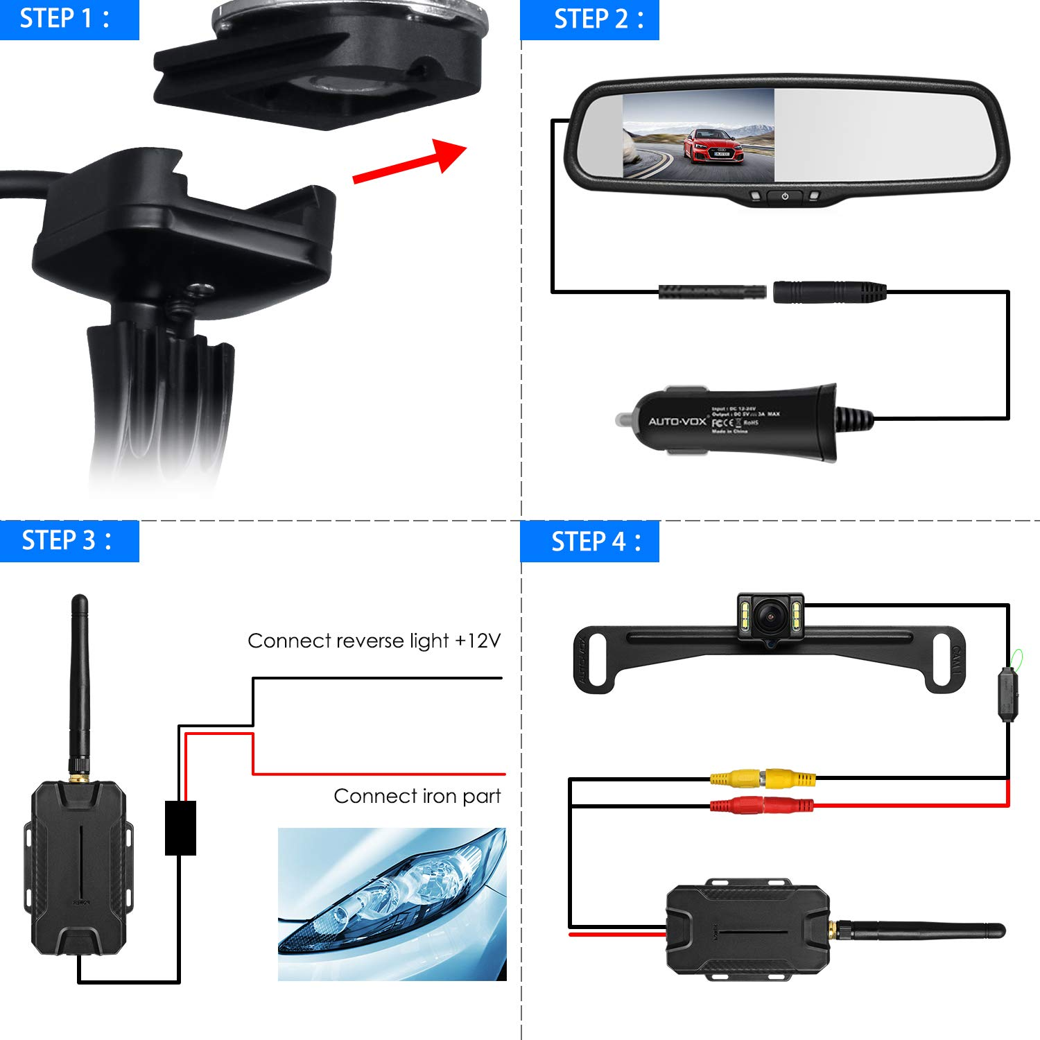 AUTO VOX T1400 Upgrade Wireless Backup Camera Kit, Easy Installation with No Wiring, No Interference, OEM Look with IP 68 Waterproof Super Night Vision Rear View Camera by AUTO-VOX (Image #4)