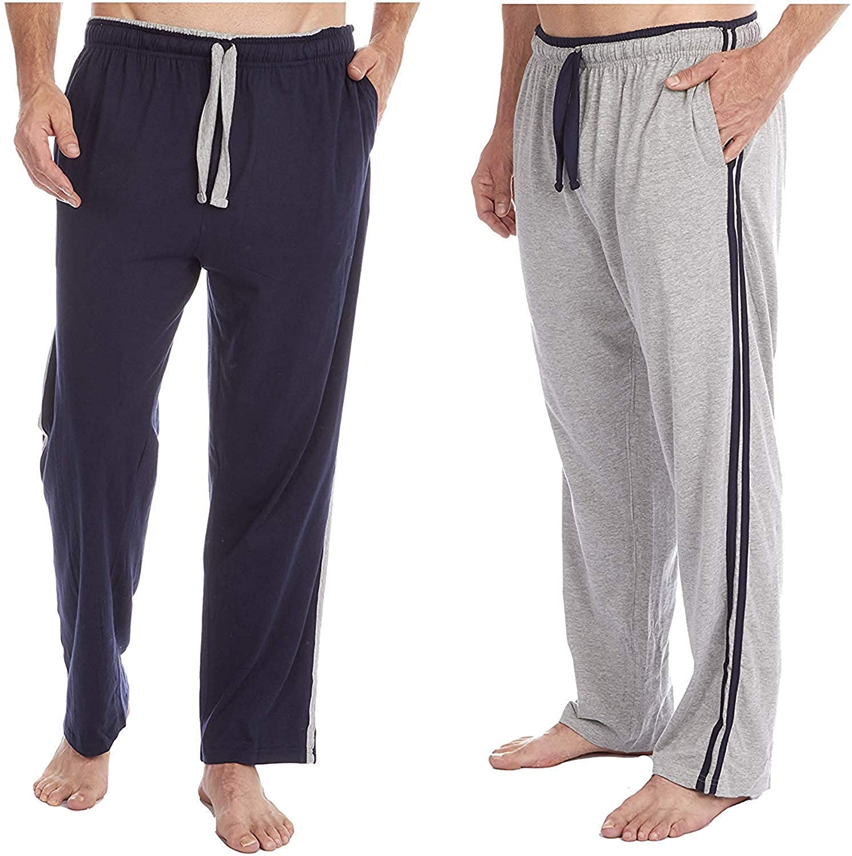 Insignia 2 Confezione Uomo Pigiama Lounge Pantaloni Lunghi Morbido Jersey Striscia retr/ò