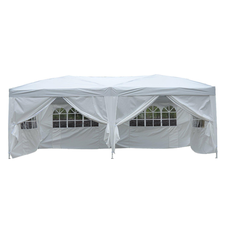 Homcom Outsunny Gazebo Pieghevole da Giardino Esterno Impermeabile con 6 Pannelli Laterali 6X 3X 2,55m Bianco