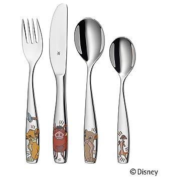 WMF Disney El Rey León - Cubertería para niños 4 piezas (tenedor, cuchillo de mesa, cuchara y cuchara pequeña) (WMF Kids infantil): Amazon.es: Hogar