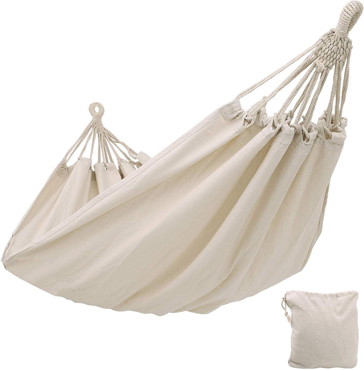 Kepeak - Hamaca de algodón para interior y exterior, 300 x 150 cm, capacidad de carga de 300 kg, ideal para excursiones de mochila, camping, patio trasero, jardín, color blanco