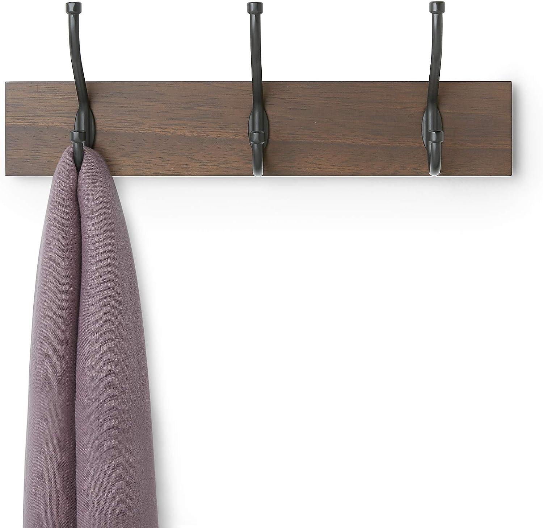 Confezione da 1 Noce 3 ganci standard 34 cm Basics Legno Appendiabiti da parete