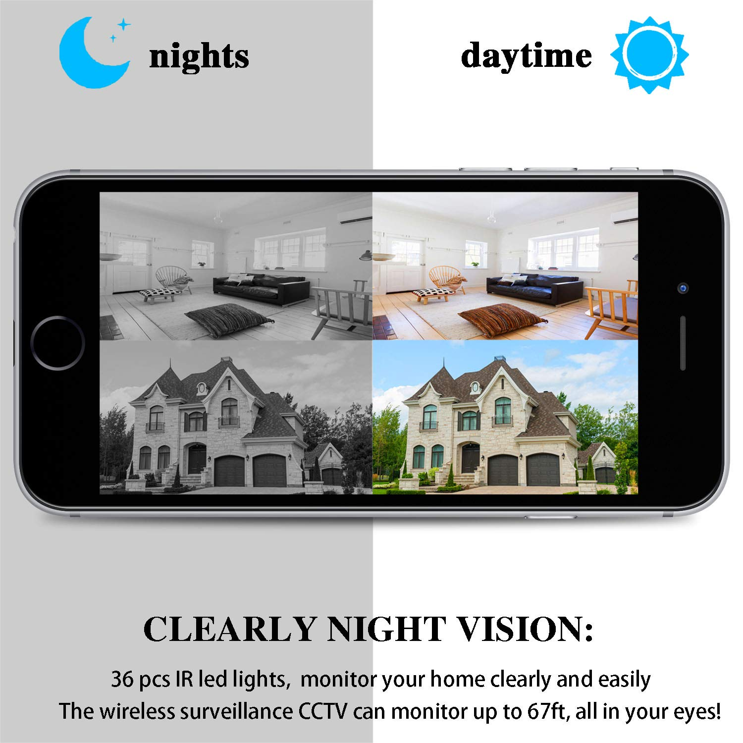 HD 1080P Wireless WiFi Security Monitor Support SD Card and Cloud Service Outdoor Home Security Camera Surveillance IP Camera with Night Vision//Waterproof//Motion Detection Alarm//Recording