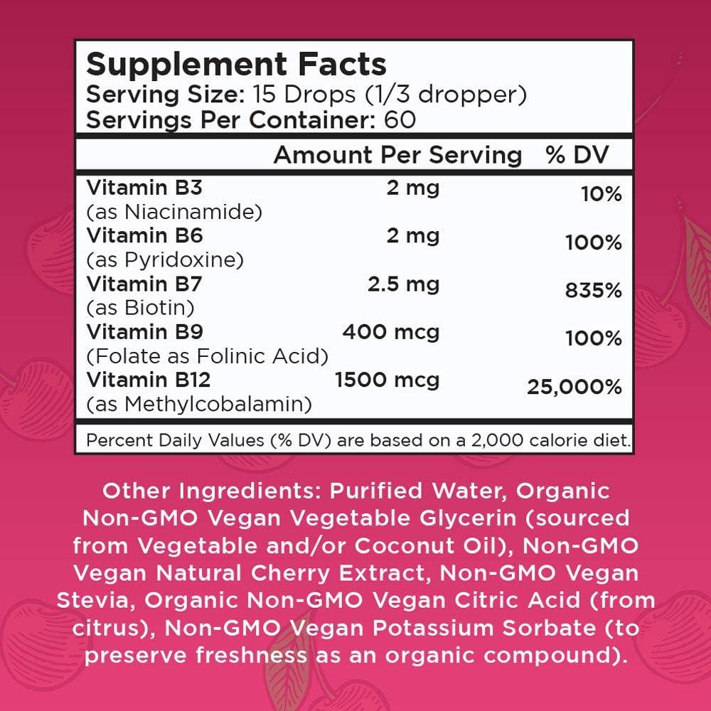 Vegan Vitamin B Complex Sublingual Liquid by MaryRuth's - Hair Skin Nails Energy - Methyl B12 Folate Biotin Niacin Vitamin B3, 6, 7, 9, 12 - Tart Cherry - Glass 1oz: Health & Personal Care