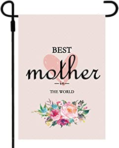 Happy Mother's DayOutdoor Garden Flag, 12x18 inchDouble SidedPolyester Fabric Banner, Floral Flowers for Landscape Yard Decoration