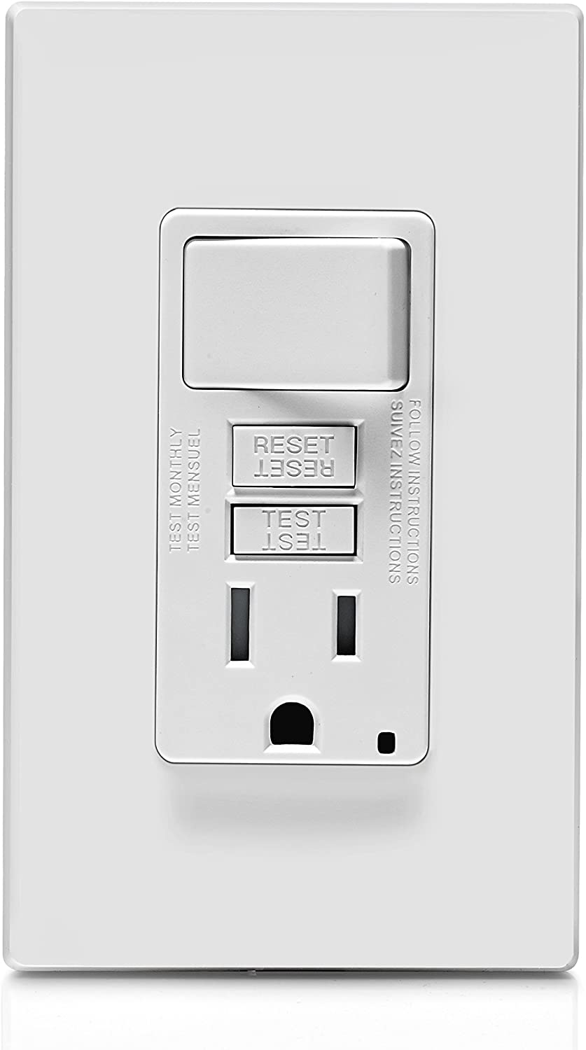 leviton gfsw1-w self-test smartlockpro slim gfci combination switch  tamper-resistant receptacle with led indicator, 15-amp, white - - amazon.com  amazon.com