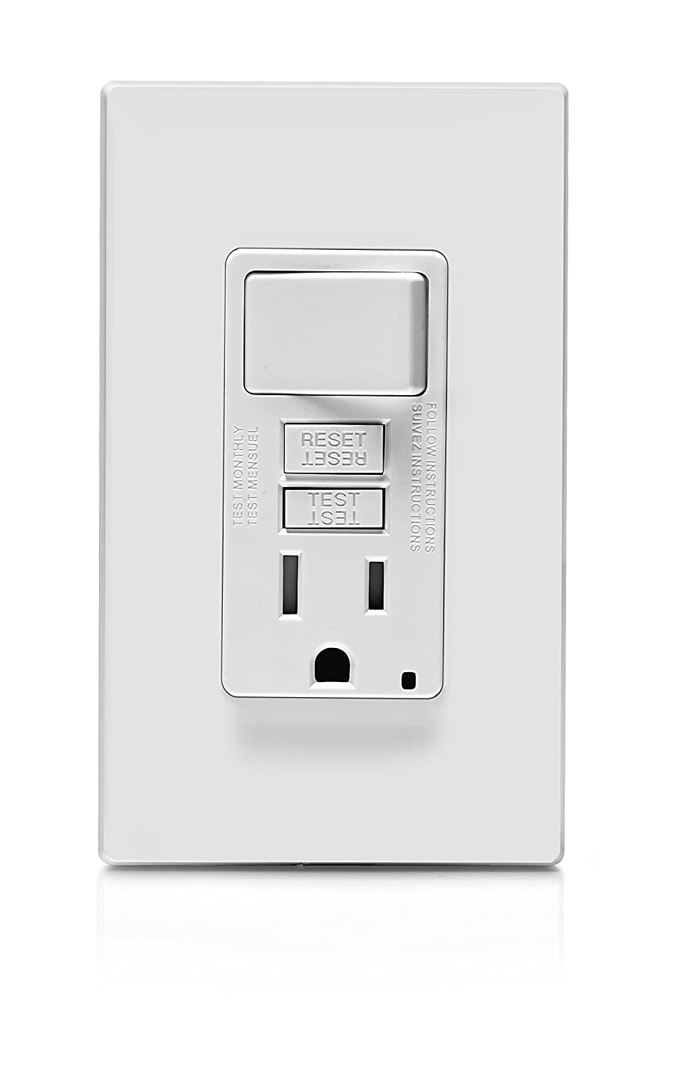 Leviton Gfsw1 W Self Test Smartlockpro Slim Gfci Combination Switch Electrical How Do I Wire A Combo Home Improvement Tamper Resistant Receptacle With Led Indicator 15 Amp White Gidds 2499319