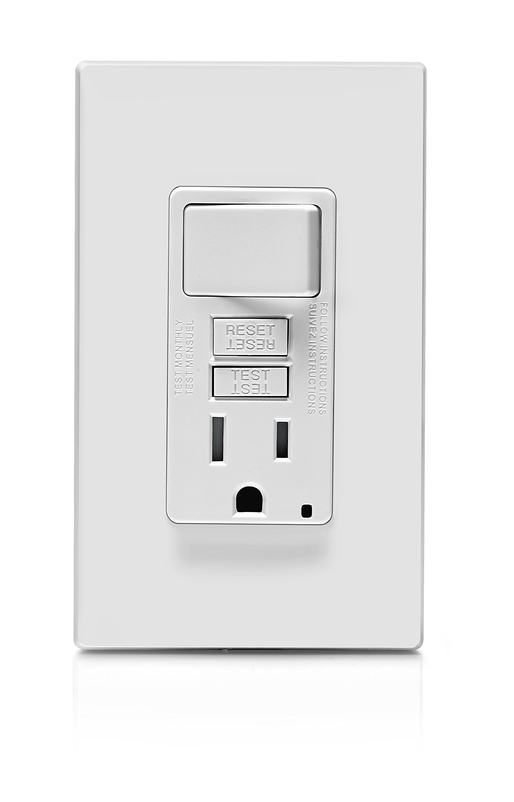 Leviton GFSW1-W Self-Test SmartlockPro Slim GFCI Combination Switch Tamper-Resistant Receptacle with LED Indicator, 15 Amp, White