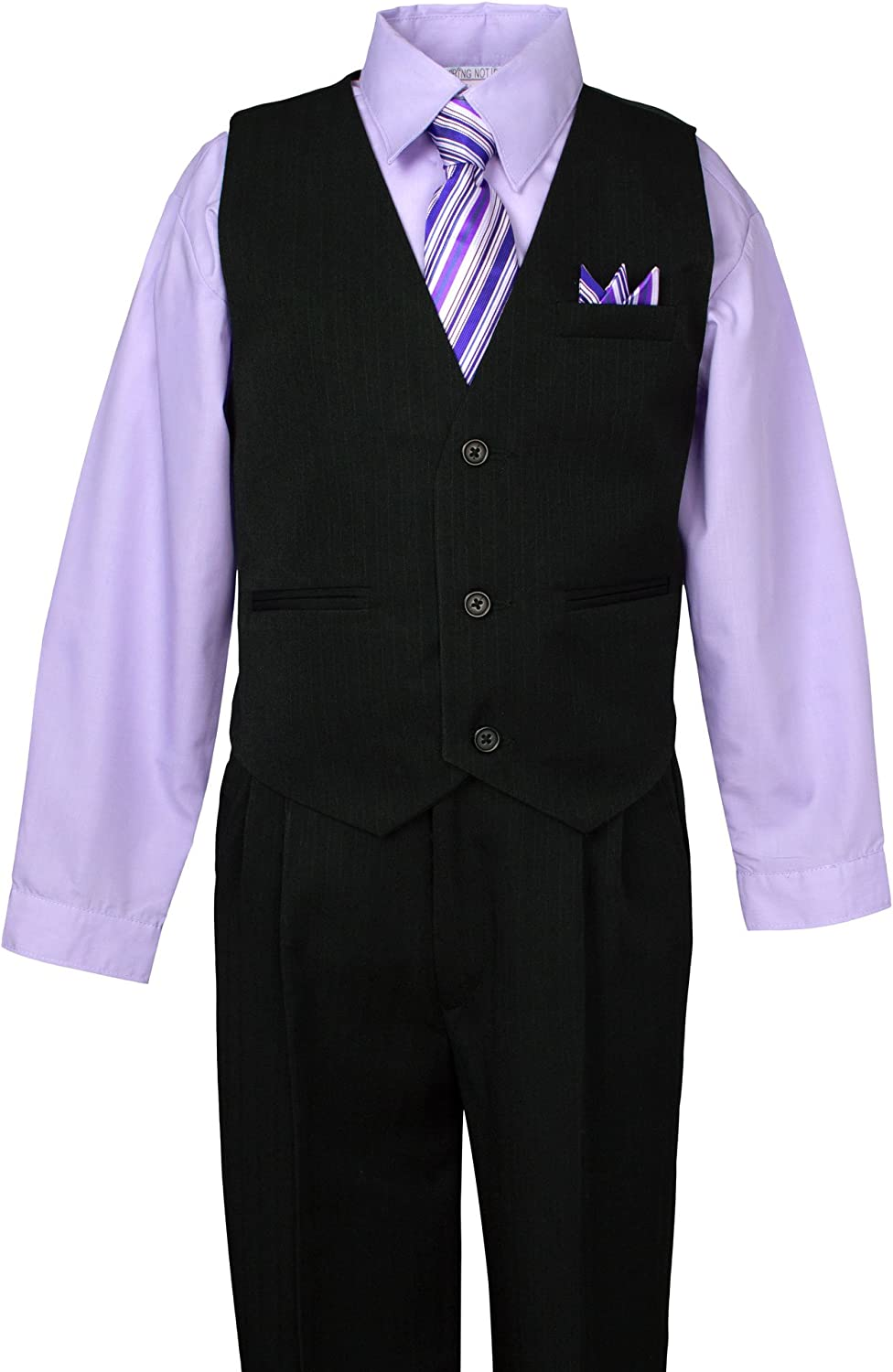 B00I1R5T2S Spring Notion Big Boys\' 5 Piece Pinstripe Vest Set with Necktie and Bowtie Lilac 71yDbp8r2BNL