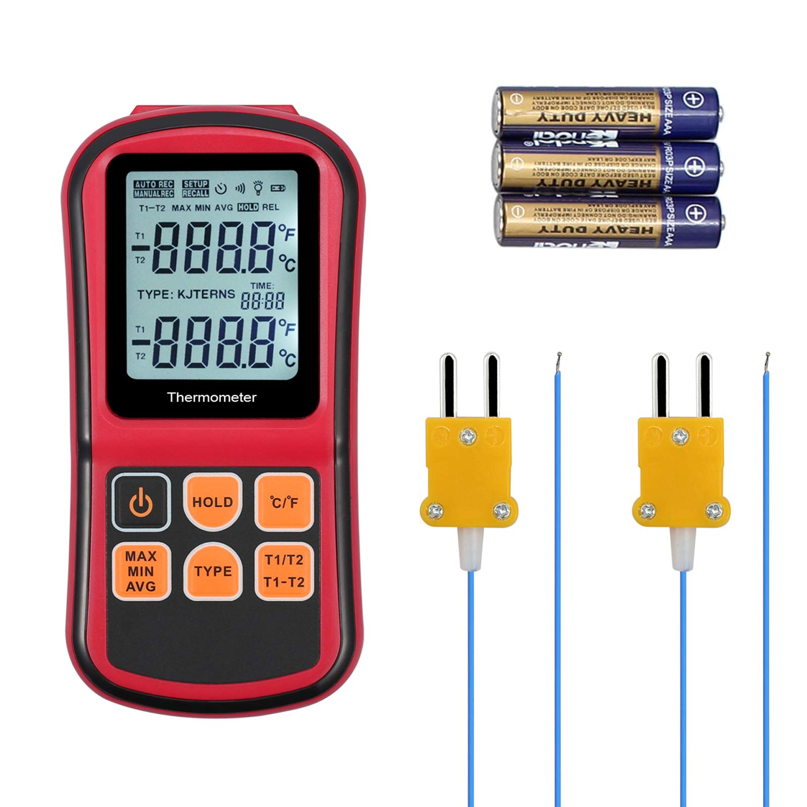 Justech Digital Thermocouple Thermometer Dual Channel LCD Backlight Temperature Meter Tester with Two K-Type Thermocouples