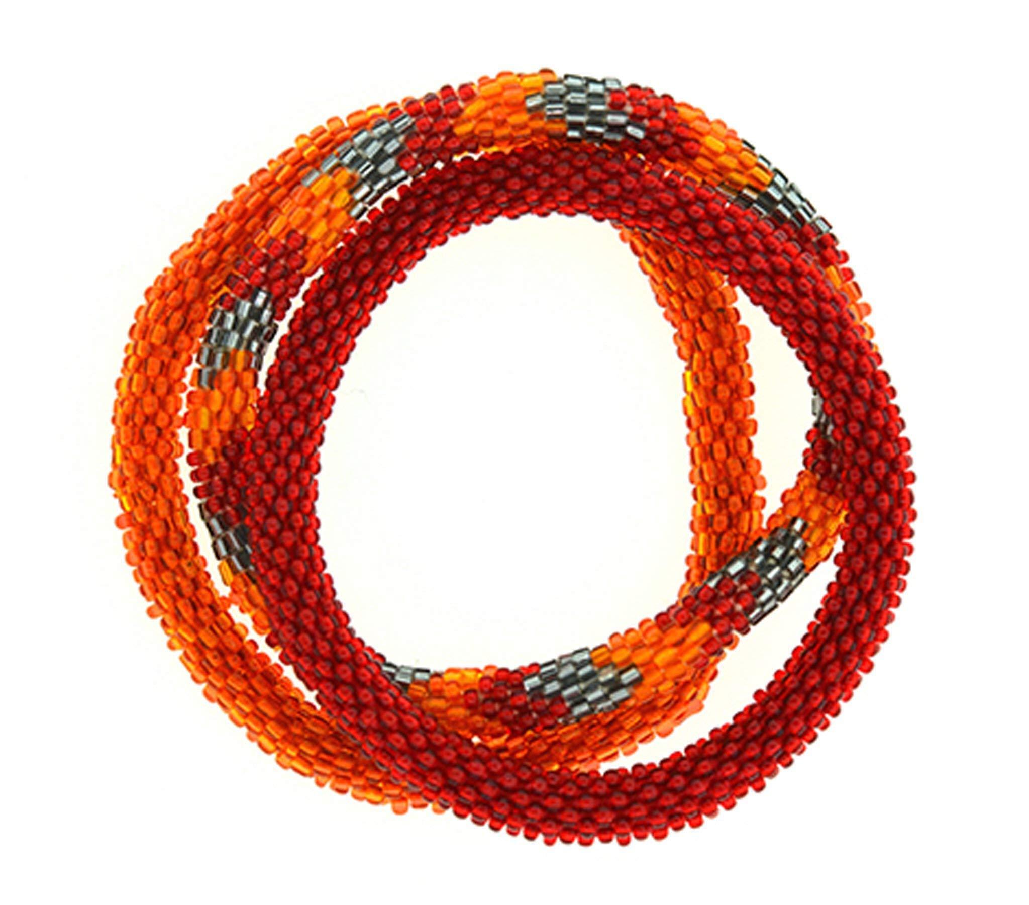 Aid Through Trade Team Spirit Roll-On Bracelets - Burgundy & Orange