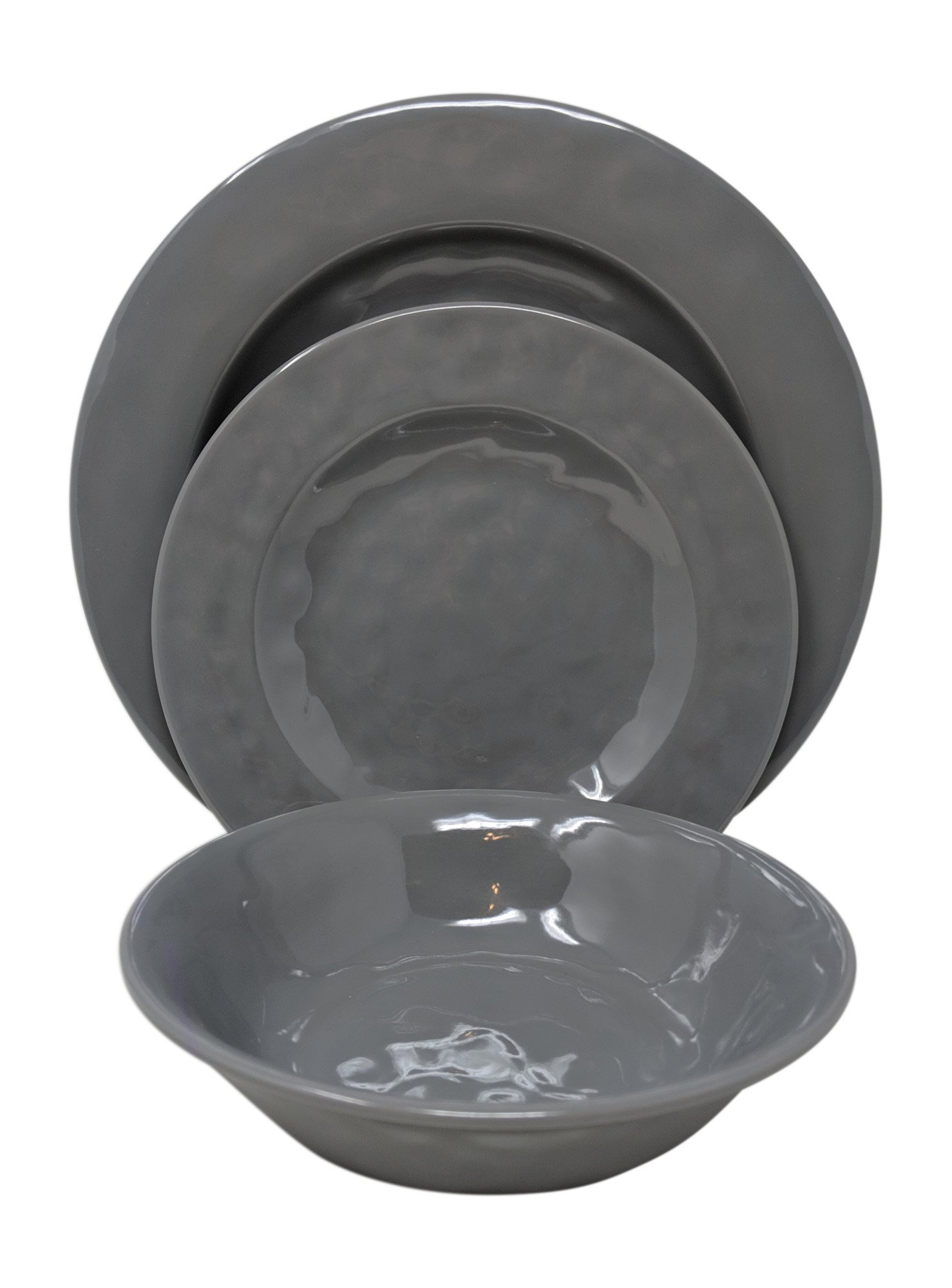 Gianna's Home 12 Piece Solid Color Melamine Dinnerware Set, Service for 4 (Solid Gray)