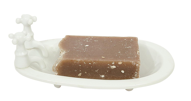 Amazon.com: Creative Co-op White Stoneware Bath Tub Shaped Soap Dish ...