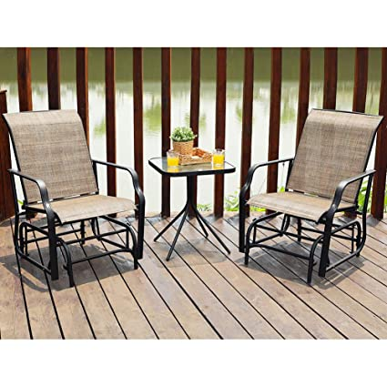 Outstanding Phi Villa Patio Glider Chair Outdoor Bistro Set 3 Pcs 2 Porch Front Deck Rocking Gliders 1 Table Brown Machost Co Dining Chair Design Ideas Machostcouk
