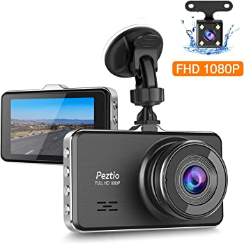 Peztio Full HD 1080P Dash Cam Front and Rear