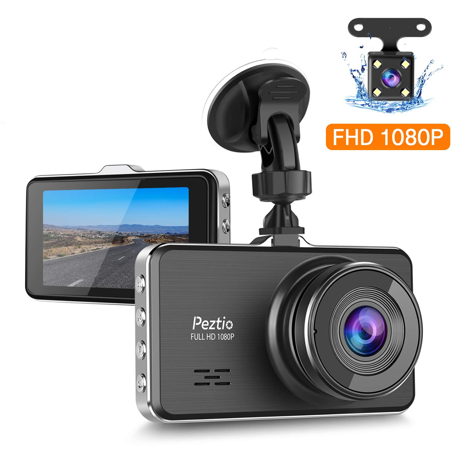 Peztio Dual Dash Cam Front and Rear, FHD 1080P Dash Camera for Cars, Car Dash Camera Recorder Upgraded Version Night Vision, 3 Inch IPS Screen, 170 Super Wide Angle, G Sensor, Parking Monitor, WDR by Peztio