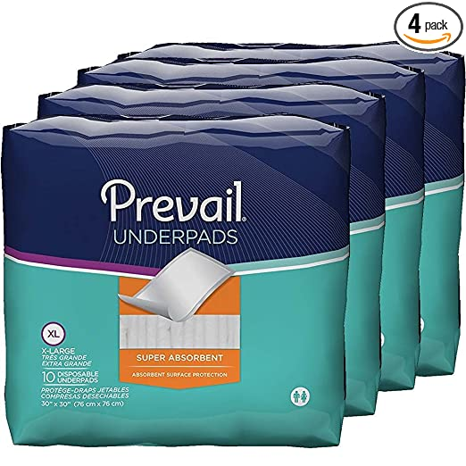 Amazon.com: Prevail Super Absorbency Incontinence Underpads, Extra Large, 10-Count (Pack of 4): Health & Personal Care