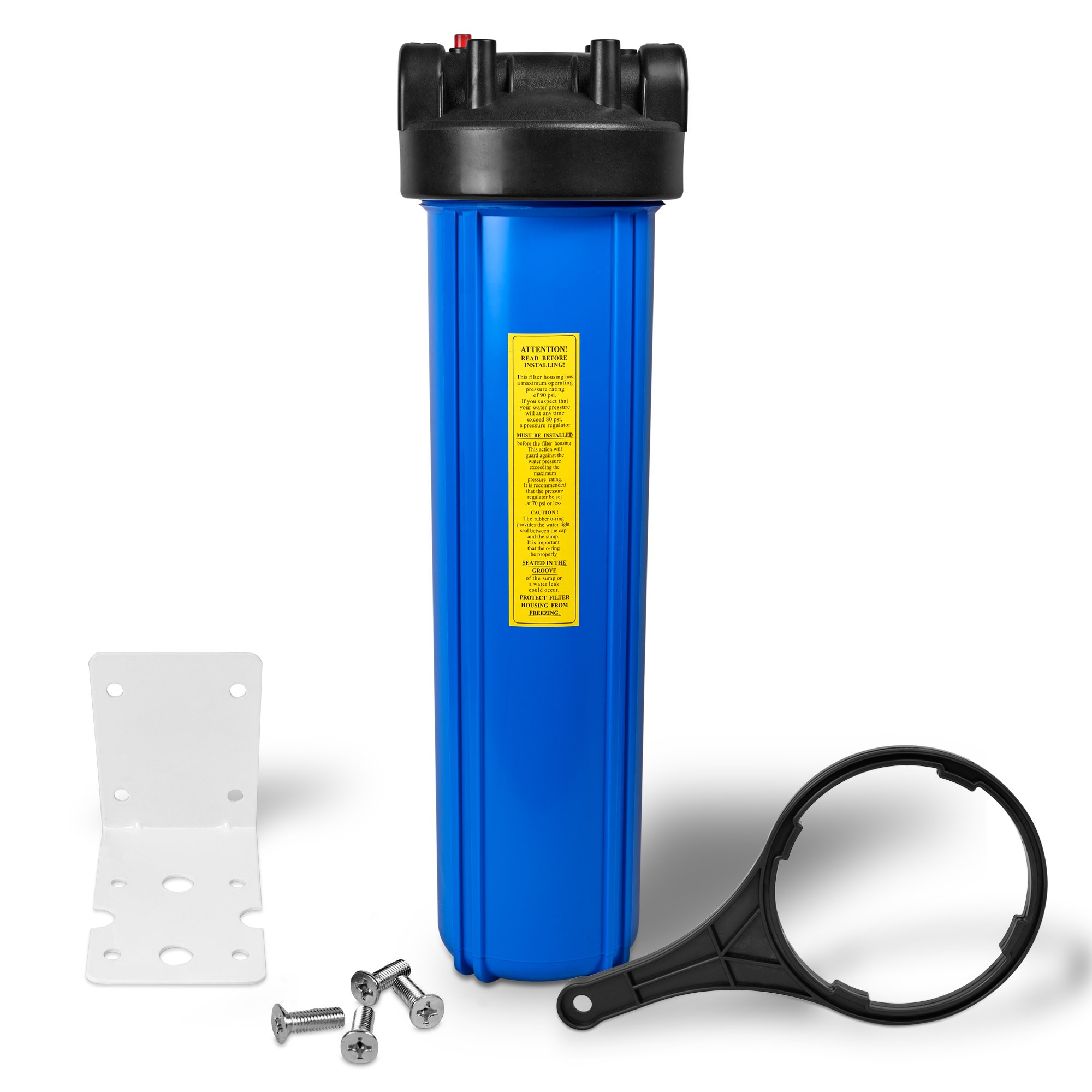 "20'' Big Blue Housing for Whole House Water Filtration System, 1"" Brass Port, Mounting Hardware Included! (1 Set, Blue)"