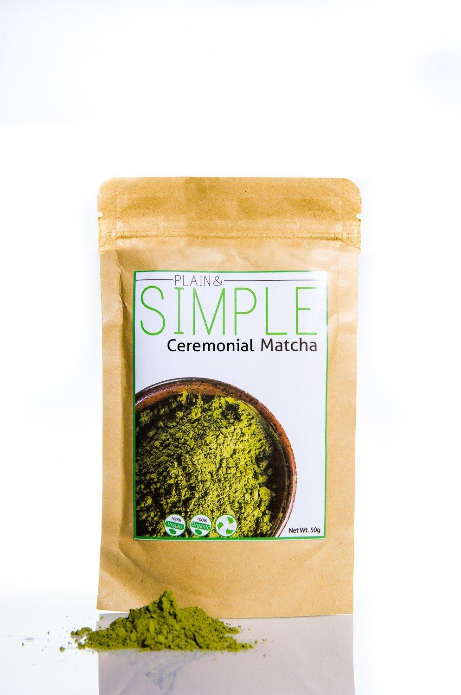 Plain&Simple - Té Verde Matcha de Grado Ceremonial Ecológico - 50g. (100% vegano, vegetariano y totalmente natural): Amazon.es: Alimentación y bebidas