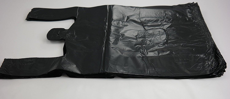 Black t shirt carryout bags 1000 ct - Amazon Com Plastic Bag Black Plain Embossed T Shirt Bag 11 5 X6 5 X21 5 13 Mic 1000 Bags Case Reusable Grocery Bags Kitchen Dining