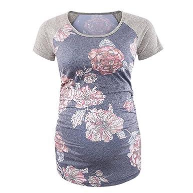 d64b3981cf9e Luoluoluo Abbigliamento Premaman Top Donna Estate Lino Cotone Manica Corta  Maglietta Tops Shirt Vestito