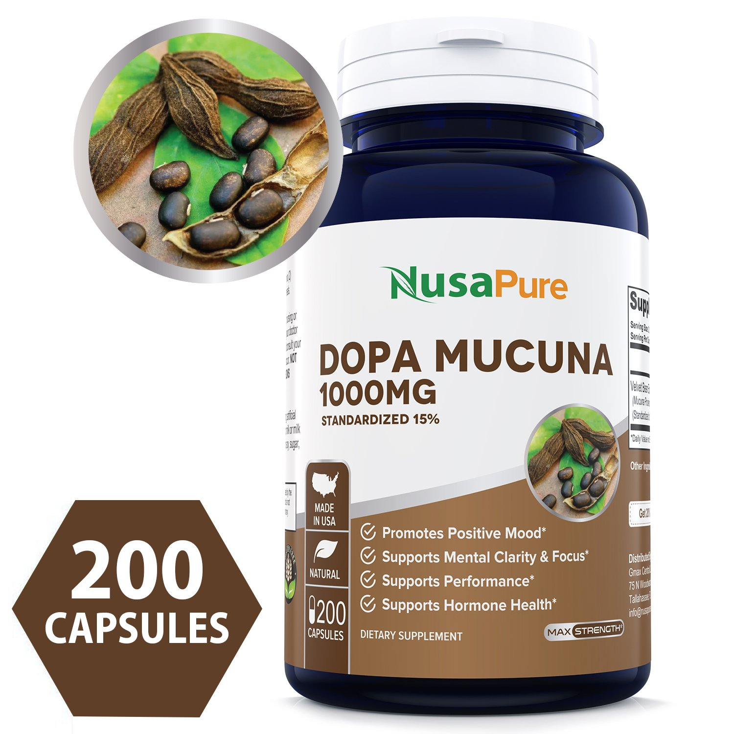Pure Mucuna Pruriens 1000mg 200caps 15% L-Dopa (NON-GMO & Gluten Free) Made in USA, Highest Potency on the Market, Promotes Dopamine, Testosterone & Mood - 100% MONEY BACK GUARANTEE!